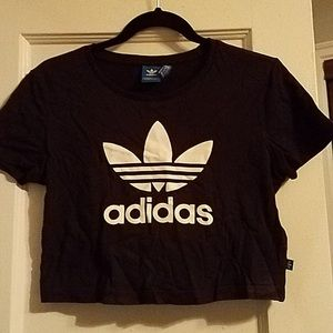Adidas black short sleeve cropped t-shirt